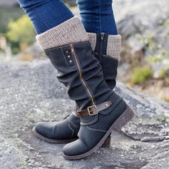 Women's Leatherette Flat Heel Mid-Calf Boots Round Toe With Zipper Button shoes