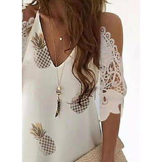 Lace/Print 3/4 Sleeves Shift Above Knee Casual/Vacation Dresses