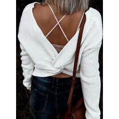 Solid V-Neck Casual Sexy Sweaters