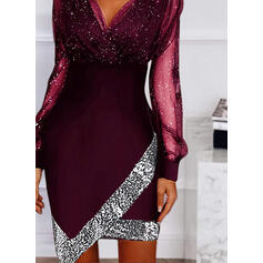 Print/Sequins Long Sleeves Sheath Above Knee Casual/Party Dresses