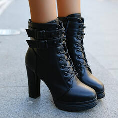 Women's PU Chunky Heel Ankle Boots Round Toe With Zipper Lace-up Solid Color shoes