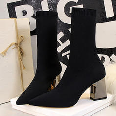 Women's Mesh Chunky Heel Pumps Closed Toe Boots Mid-Calf Boots With Lace-up Crystal Heel shoes