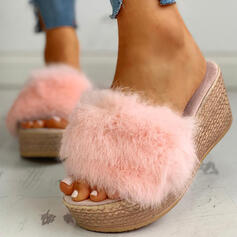Women's Fabric Flat Heel Sandals Wedges Peep Toe Slippers Heels With Faux-Fur shoes
