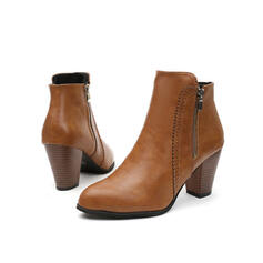 Women's Leatherette Chunky Heel Ankle Boots Pointed Toe With Zipper Solid Color shoes