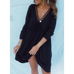 Lace/Solid/Backless Long Sleeves Shift Above Knee Little Black/Casual Tunic Dresses