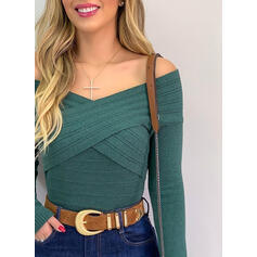 Solid Off the Shoulder Long Sleeves Casual Blouses