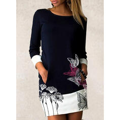 Floral/Animal Print Long Sleeves Bodycon Above Knee Casual Dresses