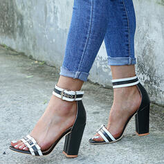 Women's Fabric Chunky Heel Sandals With Buckle shoes