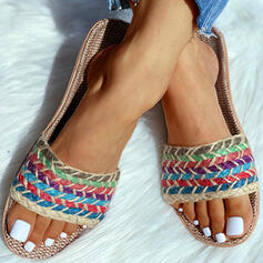 Women's Flat Heel Sandals Peep Toe Slippers With Braided Strap shoes