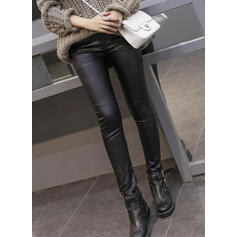 Solid Plus Size Sexy Leather Vintage Leggings