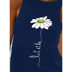 Print Floral Letter Round Neck Sleeveless Casual Tank Tops