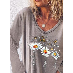 Floral Animal Print Figure V-Neck Long Sleeves Casual T-shirts