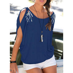 Solid Sequins Cold Shoulder Short Sleeves Casual Blouses