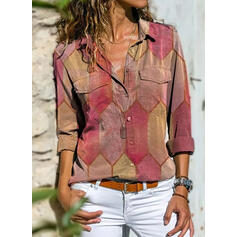 Geometric Print Lapel Long Sleeves Button Up Casual Shirt Blouses