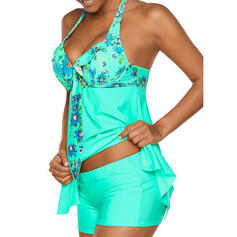 Floral Knotted Halter Beautiful Tankinis Swimsuits