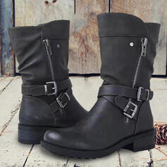 Women's PU Chunky Heel Mid-Calf Boots With Buckle Zipper Solid Color shoes