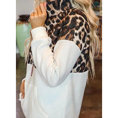 Leopard Lapel Long Sleeves Sweatshirt