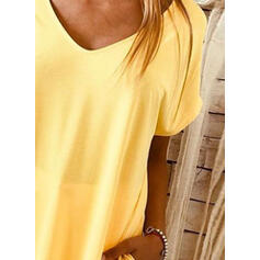 Solid Short Sleeves Shift Knee Length Casual T-shirt Dresses