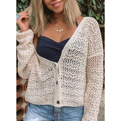 Solid Hollow-out V-Neck Casual Cardigan