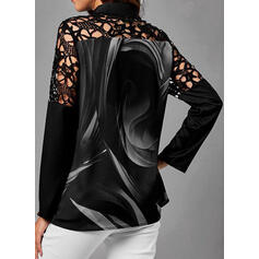 Print Lace Stand collar Long Sleeves Button Up Casual Blouses