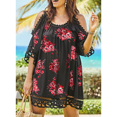 Plus Size Floral Lace Print 1/2 Sleeves Shift Above Knee Casual Vacation Dress