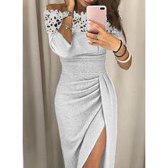 Lace/Solid 3/4 Sleeves Sheath Sexy/Party Midi Dresses