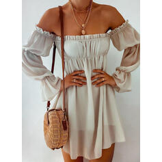 Solid Long Sleeves A-line Above Knee Casual/Vacation Skater Dresses