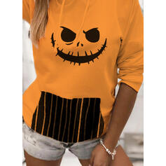 Print Striped Halloween Long Sleeves Hoodie