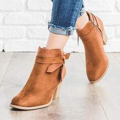 Women's PU Chunky Heel Ankle Boots Low Top Pointed Toe With Buckle Zipper Solid Color shoes