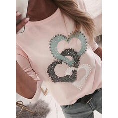 Print Beaded Heart Round Neck Long Sleeves Casual T-shirts