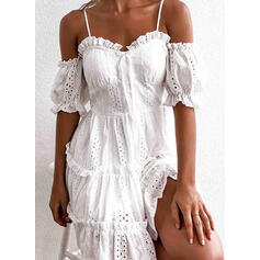 Solid 1/2 Sleeves A-line Above Knee Casual/Vacation Skater Dresses