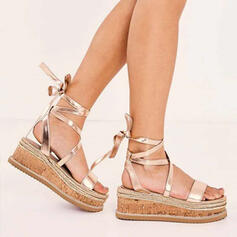 Women's PU Wedge Heel Sandals Flats Peep Toe With Lace-up Hollow-out shoes