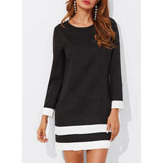 Striped Long Sleeves Shift Above Knee Little Black/Casual Tunic Dresses