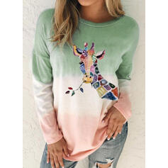 Animal Print Gradient Round Neck Long Sleeves Casual T-shirts