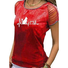 Animal Print Round Neck Short Sleeves Casual Blouses