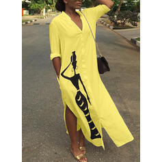 Plus Size Print 1/2 Sleeves Shift Maxi Casual Dress