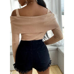 Solid Cold Shoulder Casual Tight Sweaters