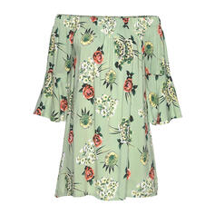 Print/Floral 3/4 Sleeves/Flare Sleeves Shift Above Knee Casual/Vacation Tunic Dresses