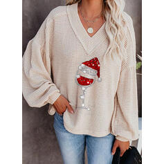 Print Waffle Knit Sequins V-Neck Casual Christmas Sweaters