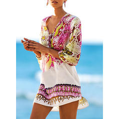 Print Animal Print V-Neck Casual Cover-ups Swimsuits