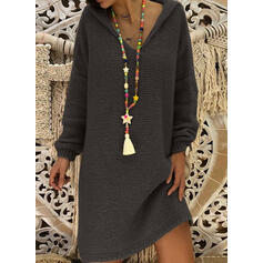Solid Hooded Casual Long Sweater Dress