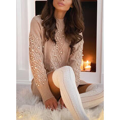 Solid Cable-knit Beaded Stand Collar Casual Long Sweater Dress