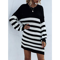 Striped Long Sleeves Shift Above Knee Casual Sweater Dresses