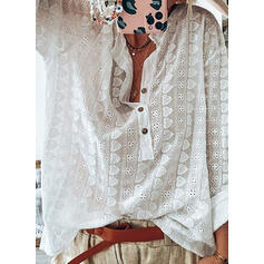 Solid Stand collar Long Sleeves Button Up Casual Blouses