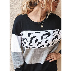 Color Block Leopard Round Neck Long Sleeves Casual Knit Blouses