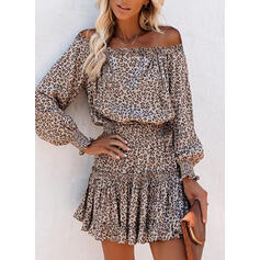 Leopard Long Sleeves/Lantern Sleeve A-line Above Knee Casual Skater Dresses