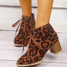 Women's Leatherette Chunky Heel Boots With Lace-up shoes
