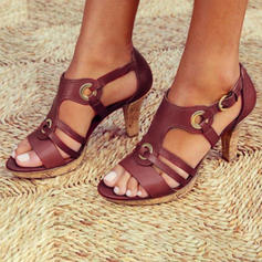 Women's PU Chunky Heel Sandals Pumps Low Top With Buckle Hollow-out Solid Color shoes