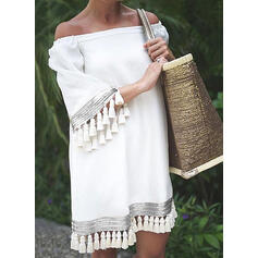Solid 3/4 Sleeves Shift Above Knee Casual/Vacation Tunic Dresses