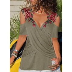 Embroidery Floral Cold Shoulder Short Sleeves Casual Blouses